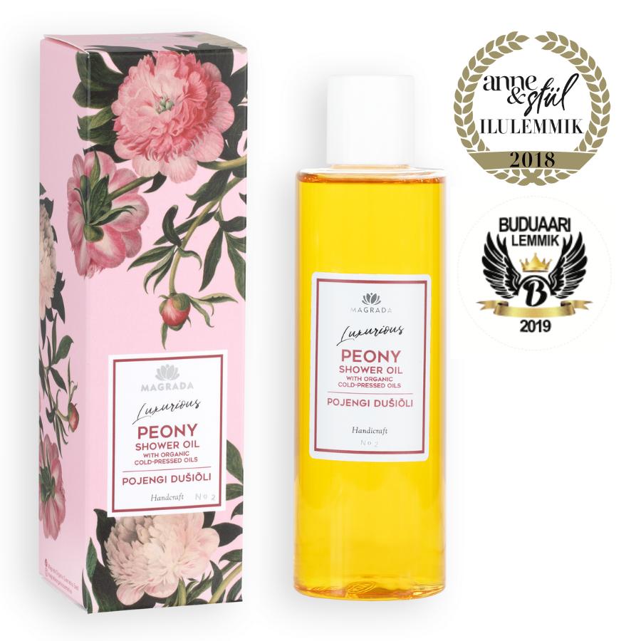 magrada dušiõli shower oil moisturizing shower gel oil peony natural skin care nordic estonian eesti looduskosmeetika auhinnatud award winning beautiful packaging