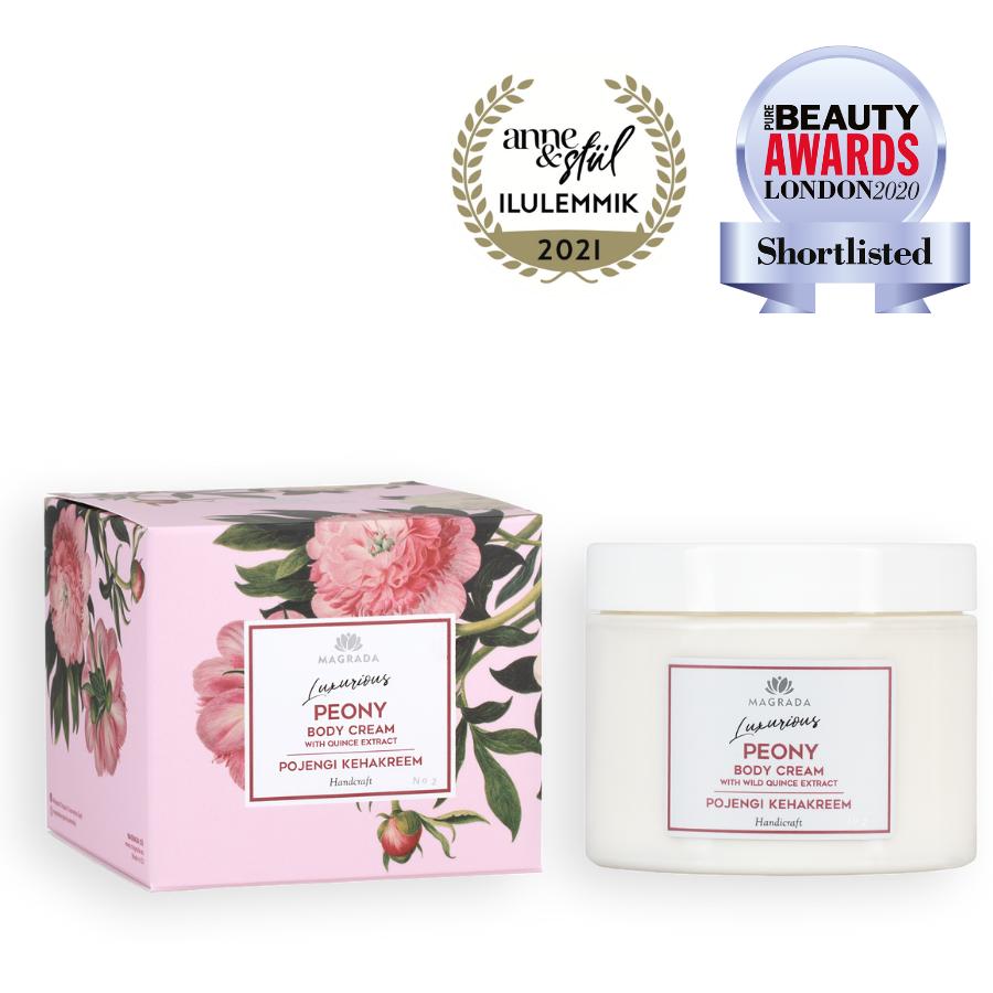 magrada moisturizing body cream kehakreem peony natural skin care nordic estonian eesti looduskosmeetika auhinnatud award winning beautiful packaging