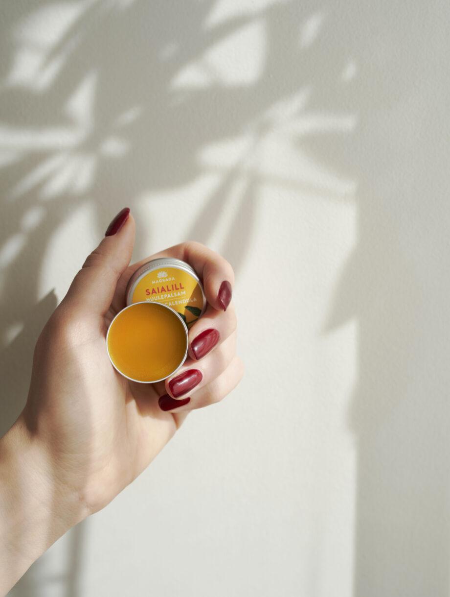 niisutav pehmendav saialille huulepalsam eesti nahahooldus kosmeetika estonian skin care